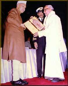 Shri.C.M.Neelakandhan Nampoothiripad receiving National Award from Honourable President Shri.Sankardayal Sarma