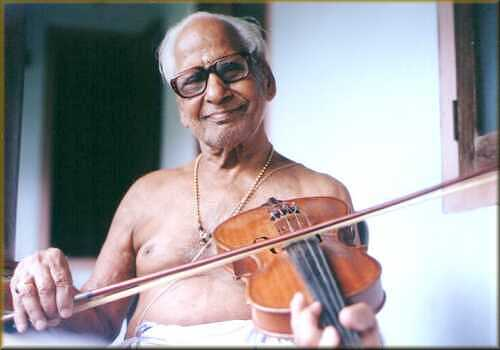 Shri C.M. Neelakandan Namboodiripad with violin made by him