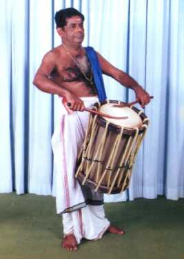 Sadanam Divakaran performing on Chenda