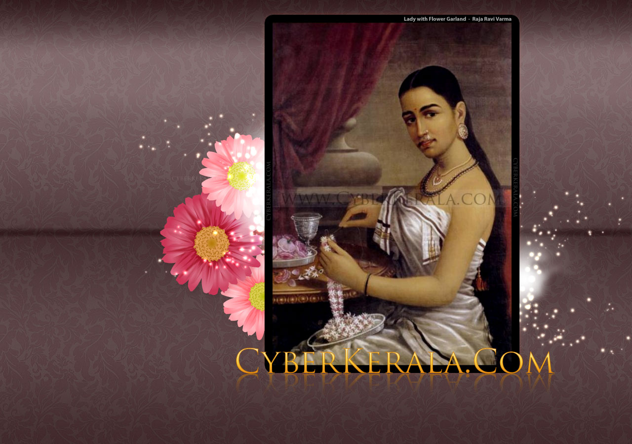 Wallpaper - Lady with Flower Garland